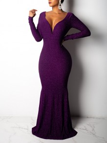 6e82d462f165 Purple Bright Wire Mermaid Deep V Neck Backless Floor Length Homecoming Party  Maxi Dress