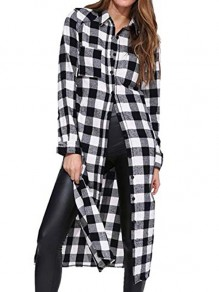 Black-White Plaid Buttons Double Slit Turndown Collar Long Sleeve Knee Length Long Midi Dress