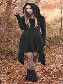 Schwarzes ReStil Witchcraft Halloween-unregelmäßiges gotisches alternatives Goth Strickjacke-Minikleid