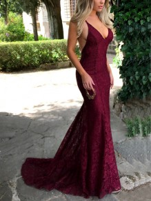 Burgundy Floral Embroidery Lace Tie Back Spaghetti Straps V-neck Elegant Maxi Dress