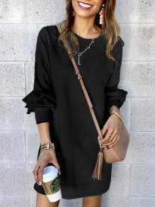 Black Ruffle Round Neck Long Sleeve Going out Mini Dress