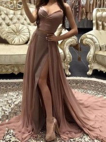 Apricot Draped Spaghetti Strap Deep V-neck Side Slit Wedding Banquet Party Maxi Dress