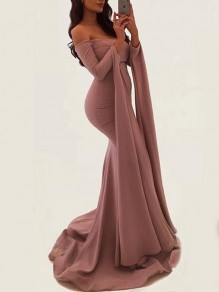 Pink Slit Off Shoulder Mermaid Bandeau Long Sleeve Prom Evening Party Floor Length Maxi Dress