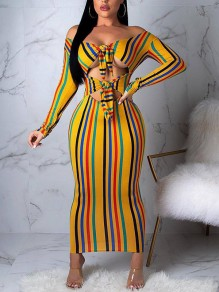 Yellow Rainbow Striped Cut Out Bow Off Shoulder Backless Bodycon Party Maxi Dress