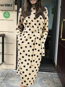 Khaki Polka Dot Print Belt Round Neck Long Sleeve Going out Midi Dress