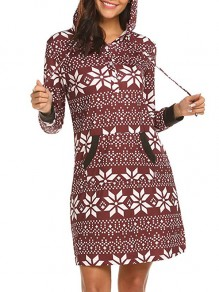Wine Red Floral Draped Drawstring Pockets Hooded Long Sleeve Casual Midi Dress