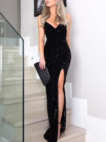 Black Sequin Glitter Irregular Spaghetti Strap Sparkly Side Slit Banquet Party Maxi Dress