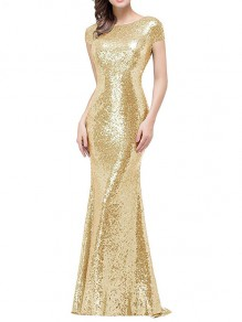 Golden Sequin Mermaid Bridesmaid Pile Collar Backless Elegant Floor Length Elegant Maxi Dress