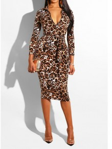 Leopard Print Belt Zipper Bodycon Long Sleeve Deep V-neck Party Maxi Dress