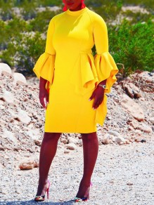 Yellow Ruffle Bell Sleeve Bodycon Round Neck Elegant Party Midi Dress