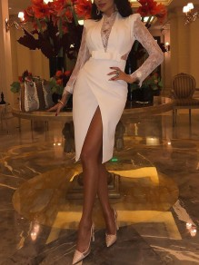 White Patchwork Lace Irregular Bow Slit Banquet Prom Party Midi Dress
