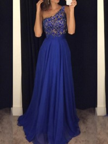 Blue Patchwork Lace Beading One Shoulder Sleeveless Homecoming Party Maxi Dress