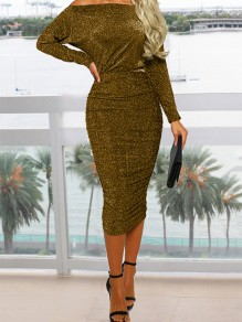 Yellow Bright Wire Off Shoulder Bodycon Sparkly Glitter Birthday Long Sleeve Party Maxi Dress