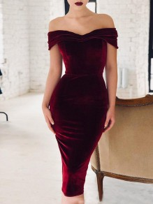 Weinrot Velvet Boot-Ausschnitt Bodycon Enges Elegant Midikleid Party Cocktailkleid Bleistiftkleid