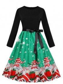 Green Floral Bow Sashes Round Neck Long Sleeve Christmas Midi Dress