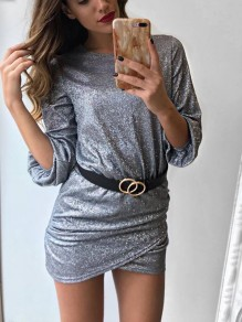 Silver Ruffle Tiered Round Neck Long Sleeve Fashion Mini Dress
