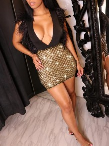 Golden Patchwork Sequin Feather Glitter Deep V-neck Sparkly New Year Bodycon Mini Dress