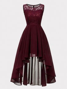 Wine Red Patchwork Lace High-low Draped Sleeveless Homecoming Party Maxi Dress