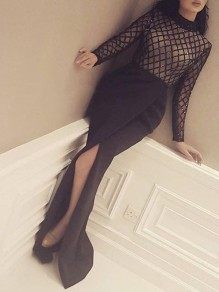 Black Plaid Sequin Patchwork Sheer Band Collar Long Sleeve Side Slit Floor Length Maxi Dress