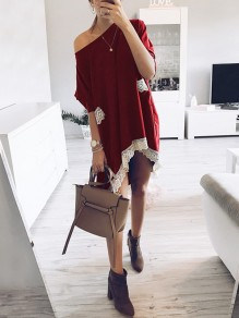 Burgundy Patchwork Lace Pockets One-shoulder Round Neck Short Sleeve Oversized Midi Dress