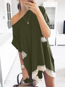 Army Green Patchwork Lace Pockets One-shoulder Round Neck Short Sleeve Oversized Midi Dress