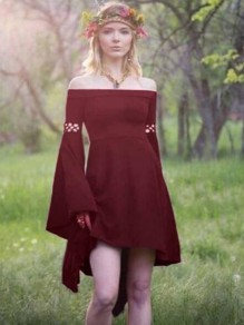 Burgundy Irregular Off Shoulder Flare Sleeve High-low Rosatic Witch Vintage Midi Dress