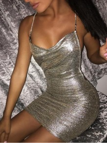 Silver Sequin Chain Cross Back Deep V-neck Bodycon Birthday NYE Mini Dress