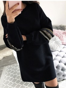 Black Print Floral Round Neck Long Sleeve Casual Midi Dress