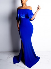 Blue Cascading Ruffle Off Shoulder Side Slits Bodycon Prom Evening Party Maxi Dress