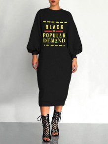 Black Monogram Black By Popular Demand Pattern Lantern Sleeve Scuba Casual Midi Dress