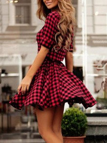 Red-Black Plaid Single Breasted Turndown Collar Peplum Skater Party Mini Dress