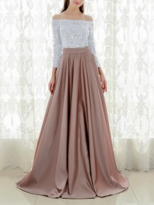 Apricot Patchwork Sequin Pleated Off Shoulder Sparkly Glitter Birthda Long Sleeve Party Maxi Dress