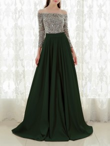 Green Patchwork Sequin Pleated Off Shoulder Sparkly Glitter Birthda Long Sleeve Party Maxi Dress