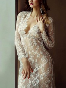 White Floral Patchwork Lace Tulle Deep V-neck Sheer Long Sleeve Maternity Cover Up Dress