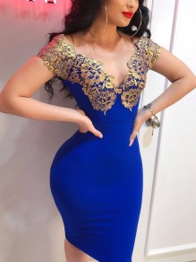 Sapphire Blue Patchwork Lace Off Shoulder Bodycon Party Midi Dress