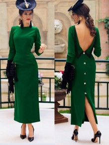 Green Patchwork Backless Buttons Back Split Round Neck Elegant Midi Dress