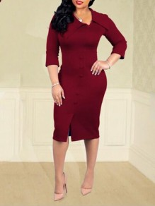 Burgundy Buttons Side Slits Long Sleeve OL Elegant Office Worker Party Maxi Dress