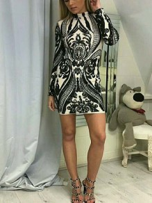 Black Patchwork Sequin Sparkly Glitter Birthday Long Sleeve Party Mini Dress