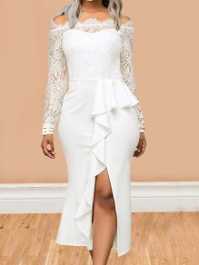 White Patchwork Lace Ruffle Off Shoulder Peplum Side Slit Banquet Party Midi Dress