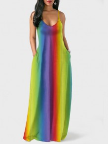 Yellow Rainbow Tie Dye Bohemia Spaghetti Strap Holiday V-neck Floor Length Outdoors Beach Maxi Dress