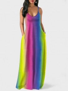 Pink Rainbow Tie Dye Bohemia Spaghetti Strap Holiday V-neck Floor Length Outdoors Beach Maxi Dress