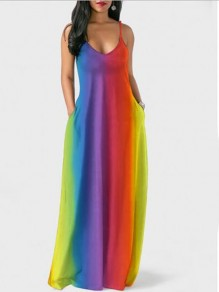 Red Rainbow Tie Dye Bohemia Spaghetti Strap Holiday V-neck Floor Length Outdoors Beach Maxi Dress