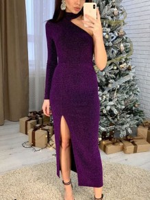 Purple Patchwork Sequin Asymmetric Shoulder Halter Neck Side Slits Sparkly Glitter Party Prom Maxi Dress