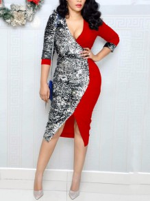 Red Patchwork Sequin Front Slit Deep V-neck Long Sleeve Sparkly Glitter Party Midi Dress