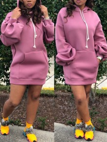 Pink Drawstring Pockets Hooded Lantern Sleeve Casual Mini Dress