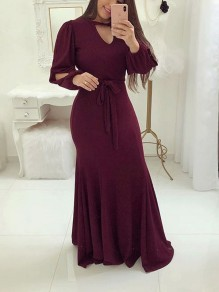 Burgundy Belt Cut Out Pleated Mermaid V-neck Lantern Sleeve Elegant Party Maxi Dress