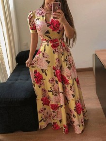Yellow Floral Cut Out Pleated High Waisted Bohemian Party Maxi Dress