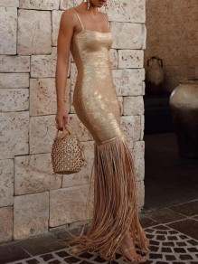 Golden Patchwork Tassel Spaghetti Strap Sparkly Banquet Formal Party Maxi Dress