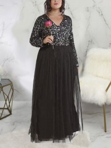 Black Patchwork Sequin Grenadine V-neck Long Sleeve Plus Size Sparkly Glitter Party Maxi Dress