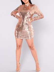 Apricot Patchwork Sequin Backless Bodycon Long Sleeve Christmas New Year's Eve Sparkly Glitter Mini Dress